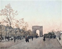 the champs-élysées, paris by paul emile lecomte