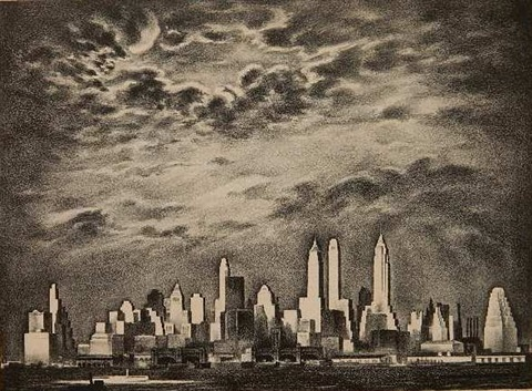 storm over manhattan by louis lozowick