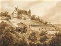 vue du château de randan, côté des jardins by louis-marie (général) atthalin