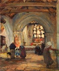 intérieur d'église en bretagne près de plougastel by emile joseph jules simon