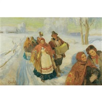 a bridal procession in the snow by anatollo sokolov