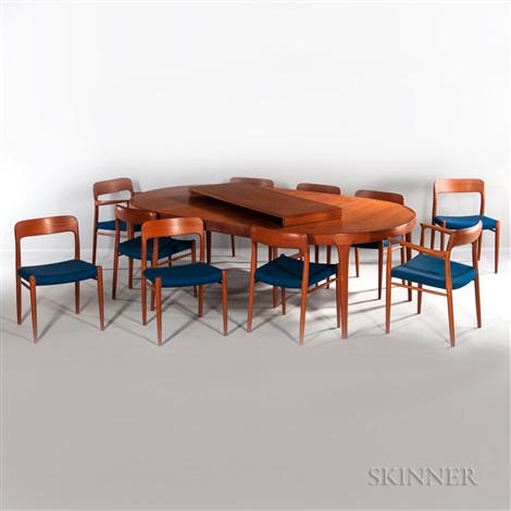 JL Moller Teak Dining Table And Ten Chairs By JL Moller On Artnet - Dining table for ten