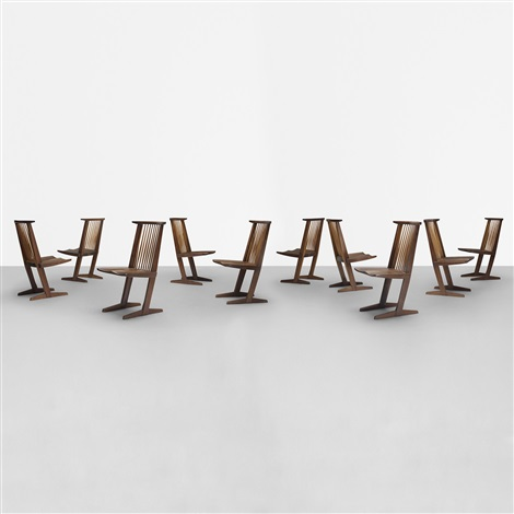 conoid dining chairs set of 10 by george nakashima