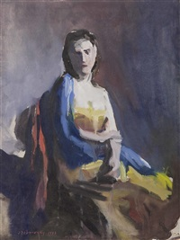 sitzporträt einer jungen dame by josef dobrowsky