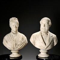 pair of portrait busts by randolph john rogers