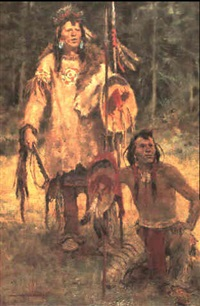 standing bull and bear spirit by charles w. miller