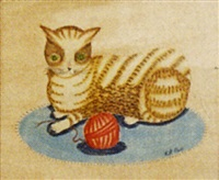 cat with a ball of yarn by bill rank