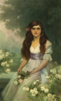 porträt der míla mellanová mit rosen by rudolf vacha
