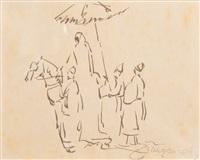 scène orientaliste avec cavalier, maroc by jacques majorelle