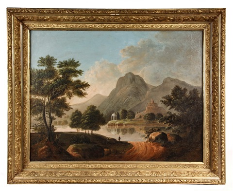 idyllic mountain landscape with castle ruins and marble temple on opposite bank of lake by thomas chambers