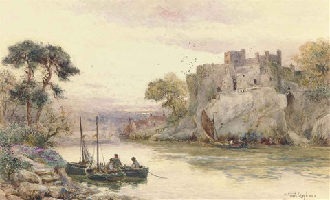 fishermen on the river before chepstow castle by walter stuart lloyd