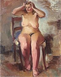 sitzender weiblicher akt by rudolf jacobi