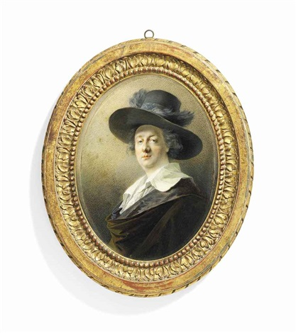 joseph barth 1746 1818 in silk lined olive green cloak white shirt wide brim hat decorated with plumes by friedrich heinrich füger