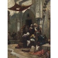 north african street merchants in discussion by l. fortonio