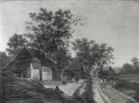 farmhouses with sheep, cows and peasants by maximilien lambert gelissen