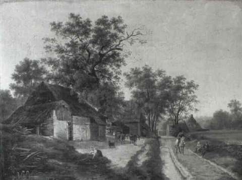 farmhouses with sheep cows and peasants by maximilien lambert gelissen
