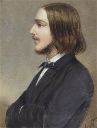 portrait miniatures of gentlemen: the first, in profile to the left, wearing black coat, white chemise and black tie, shoulder-length brown hair, his arms folded; the second, wearing black coat, white waistcoat, chemise, stock and cravat (2 works) by emanuel thomas peter