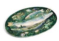 palissy-style oval dish by alfred renoleau