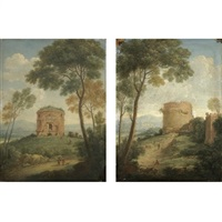 a view of the tor de schiavi in the roman campagna (+ a view of the tomb of cecilia metella in the roman campagna; pair) by giacomo van (monsù studio) lint