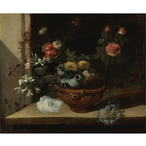 still life with various flowers and a ceramic vase balanced in a clay pot resting on a stone ledge possibly one of a series of months by niccolino van houbraken