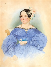 dame in blauem kleid by leopold fischer