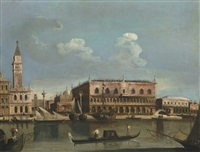 venice, a view of the piazzetta from the bacino di san marco; venice, a view of saint mark's square (pair) by francesco tironi