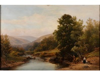 on the teign (fishing on the banks of the river) by william (of plymouth) williams