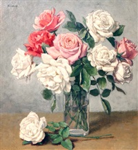 pink, red and white roses by kalman kemeny