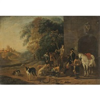 cavaliers resting before a tavern by ludolf de jongh
