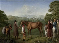 a bay racehorse held by a trainer by jacques-laurent agasse