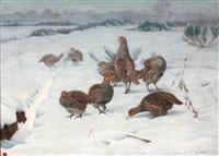 perdrix dans un paysage de neige by edouard paul merite