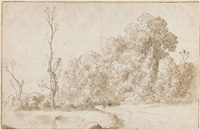 a wooded landscape (recto); another study of the same (verso ) (pl. 11) by cornelis van poelenburgh