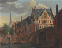 a canal view with a church in the distance by johannes huibert (hendric) prins