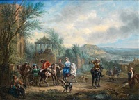 an elegant company departing for the hunt (after carel van falens) by alexandre paul joseph veron