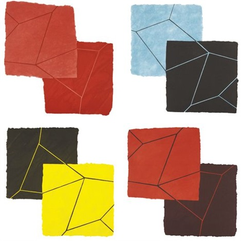 crackle suite set of 4 by mary heilmann