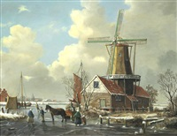 figures on a frozen river, a pair each 27.5 x 35.5cm (10 5/8 x 13 9/16in).(2) by a. de groote