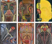brown portrait (+ 5 others; 6 works) by george condo