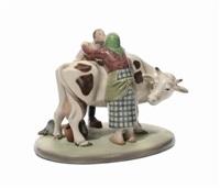 coppia di contadini che si baciano appoggiati ad una mucca by giovanni grande
