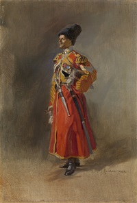 portrait of a cossack officer by nikolai semenovich samokish