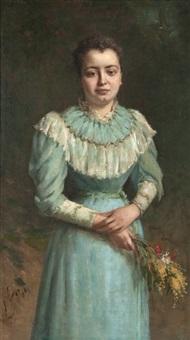 jeune femme à la robe bleue by jacques-louis gay