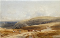 on the downs near arundel by copley fielding