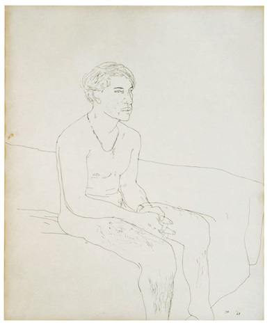 peter on bed seated by david hockney