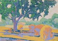 haystacks in a field by clara l. deike