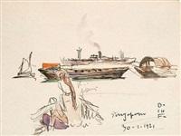 jonque cannonière sur le si kiang (équipée pour la descente) et singapour (2 works) by dominique charles fouqueray