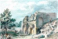 vue animée du fort de nîmes; vue extérieure du temple de diane à nîmes (pair) by philippe meusnier
