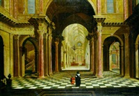 a classica atrium in a gothic church by wilhelm schubert van ehrenberg