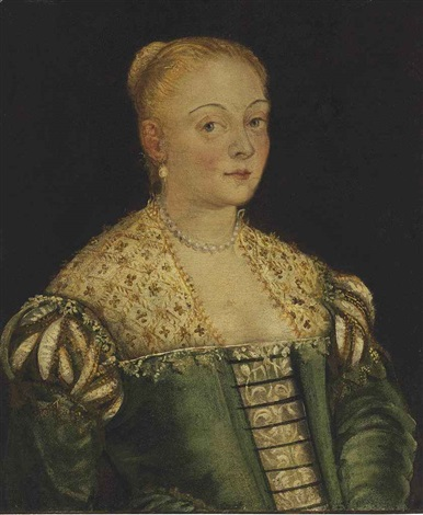 portrait of a young lady half length in a green dress by jacopo robusti tintoretto