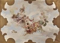 allegorie: flora und drei schwebene genien mit putti by j. karl peyfuss