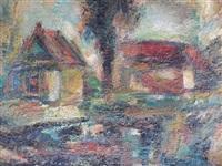 hameau aux toits rouges et paysage (double-sided) by eugène leroy