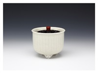 incense burner with pale-yellow glaze by miyanohara ken